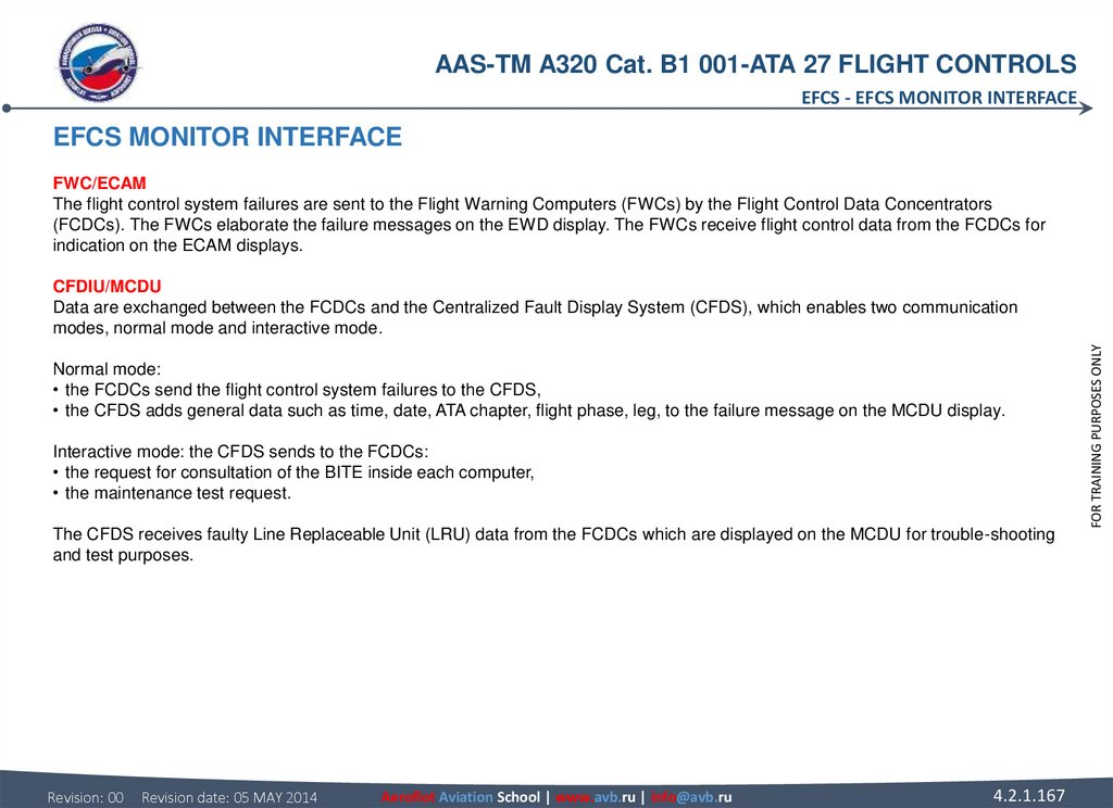 EFCS MONITOR INTERFACE FWC/ECAM The flight control system failures are sent to the Flight Warning Computers (FWCs) by the
