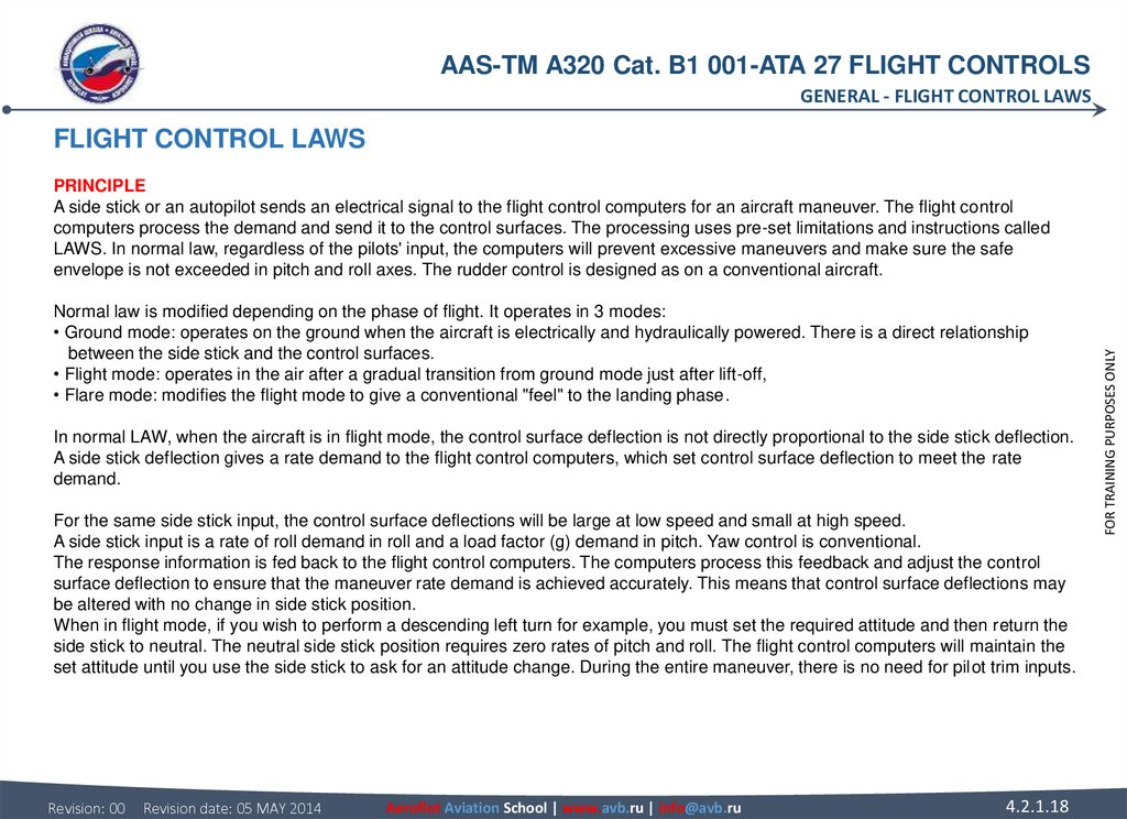 FLIGHT CONTROL LAWS PRINCIPLE A side stick or an autopilot sends an electrical signal to the flight control computers for an