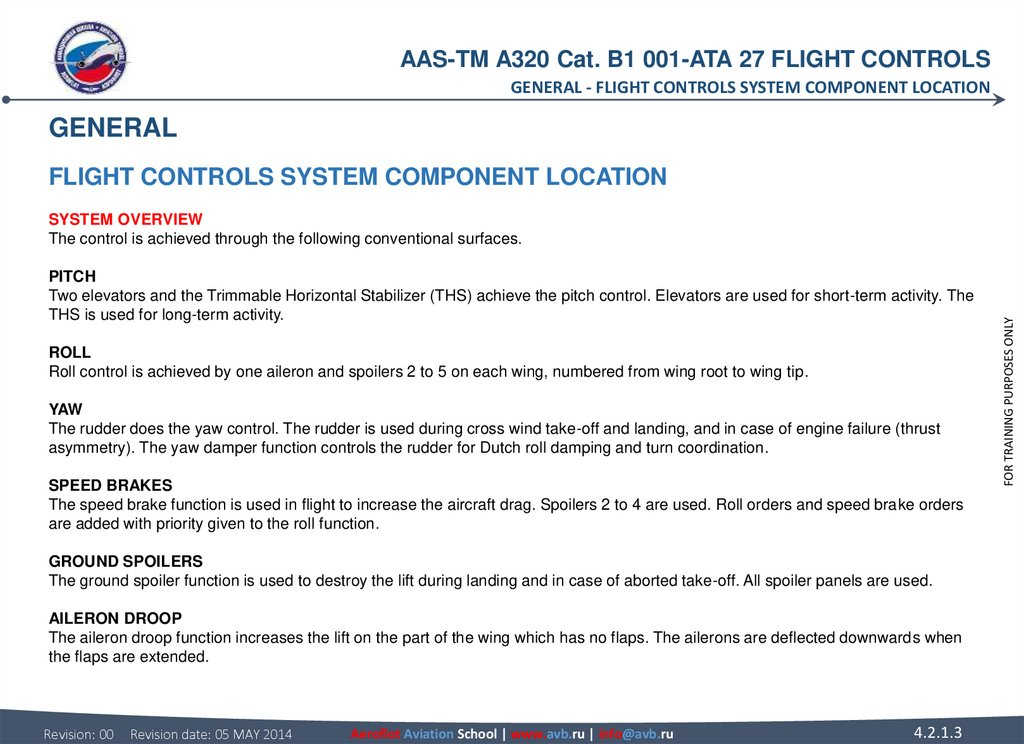 GENERAL FLIGHT CONTROLS SYSTEM COMPONENT LOCATION SYSTEM OVERVIEW The control is achieved through the following conventional