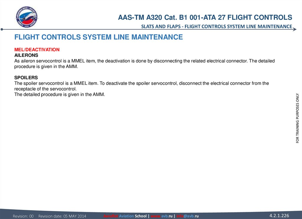 FLIGHT CONTROLS SYSTEM LINE MAINTENANCE MEL/DEACTIVATION AILERONS As aileron servocontrol is a MMEL item, the deactivation is