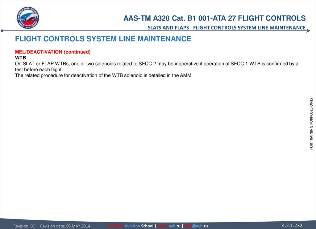 FLIGHT CONTROLS SYSTEM LINE MAINTENANCE MEL/DEACTIVATION (continued) WTB On SLAT or FLAP WTBs, one or two solenoids related to