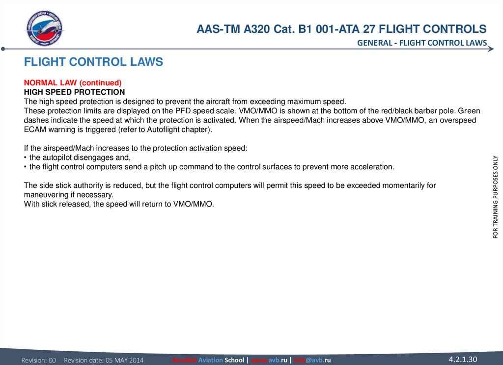 FLIGHT CONTROL LAWS NORMAL LAW (continued) HIGH SPEED PROTECTION The high speed protection is designed to prevent the aircraft