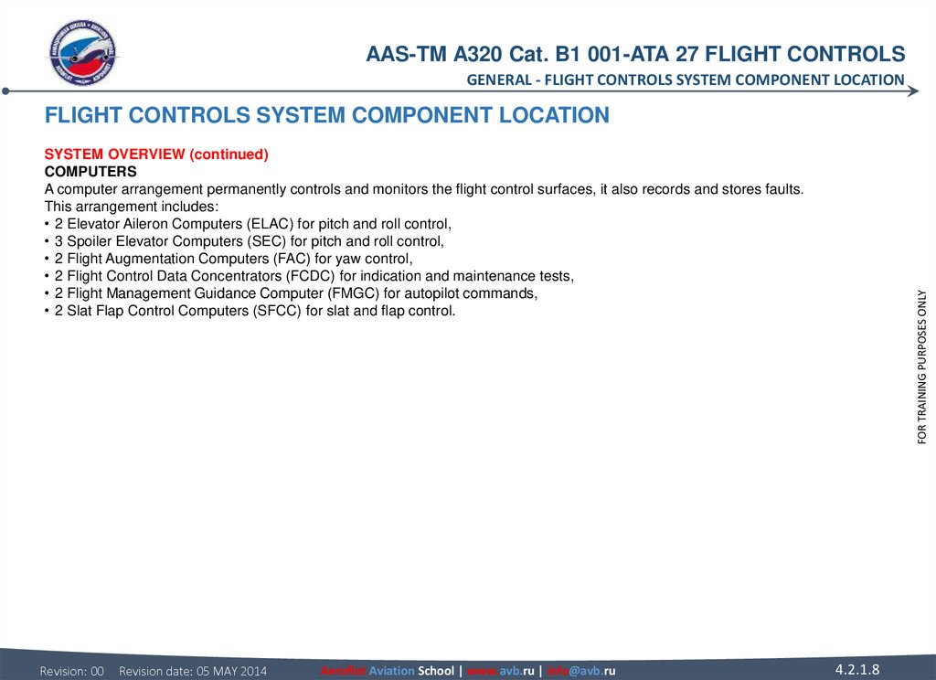 FLIGHT CONTROLS SYSTEM COMPONENT LOCATION SYSTEM OVERVIEW (continued) COMPUTERS A computer arrangement permanently controls and