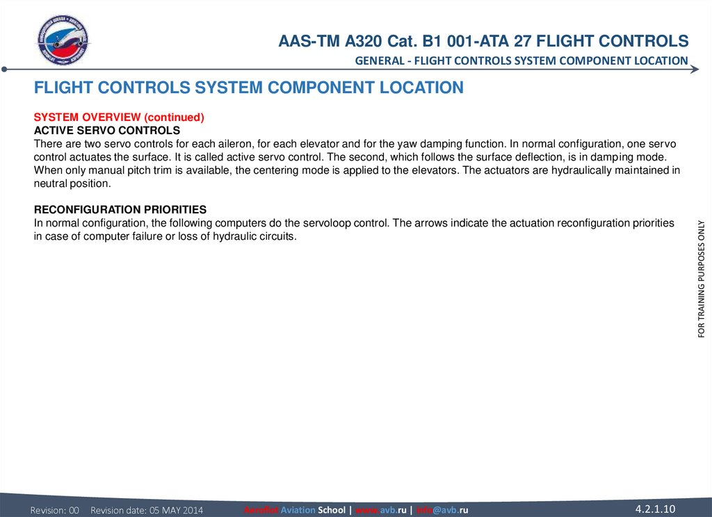 FLIGHT CONTROLS SYSTEM COMPONENT LOCATION SYSTEM OVERVIEW (continued) ACTIVE SERVO CONTROLS There are two servo controls for