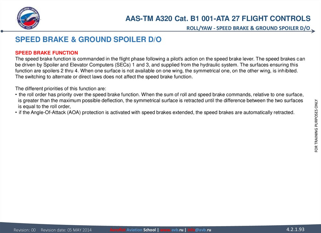 SPEED BRAKE & GROUND SPOILER D/O SPEED BRAKE FUNCTION The speed brake function is commanded in the flight phase following a