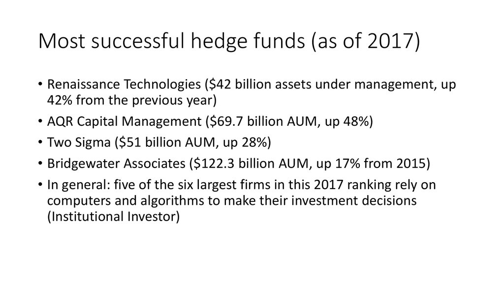 Most successful hedge funds (as of 2017)