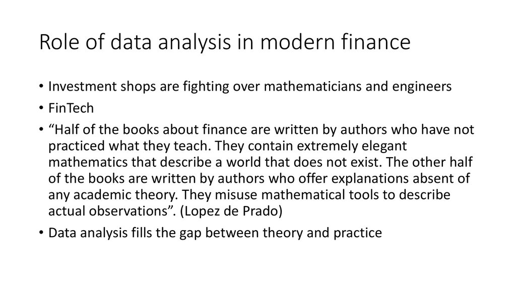 Role of data analysis in modern finance