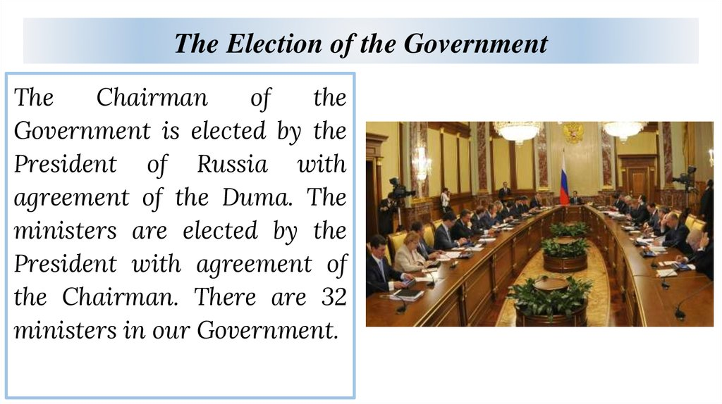 The Election of the Government