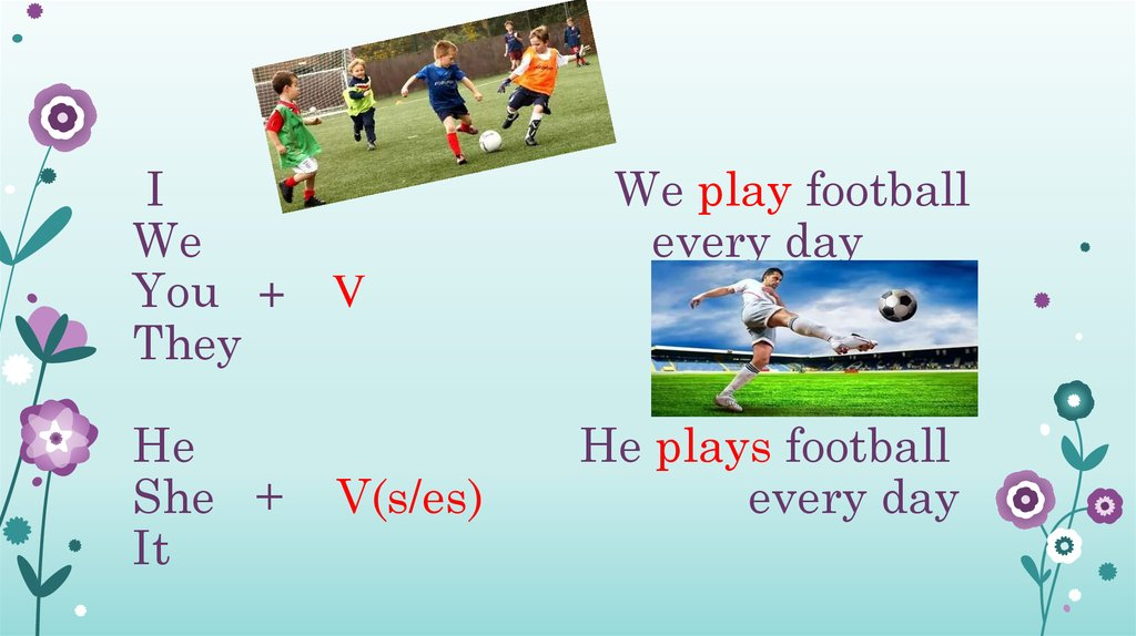 I We play football We every day You + V They He He plays football She + V(s/es) every day It