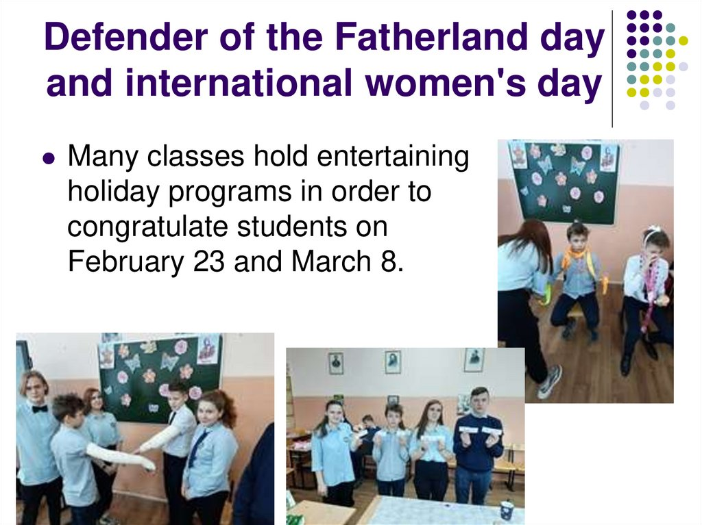 Defender of the Fatherland day and international women's day