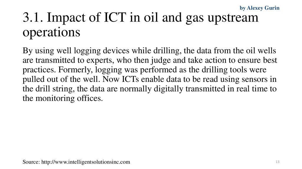 3.1. Impact of ICT in oil and gas upstream operations