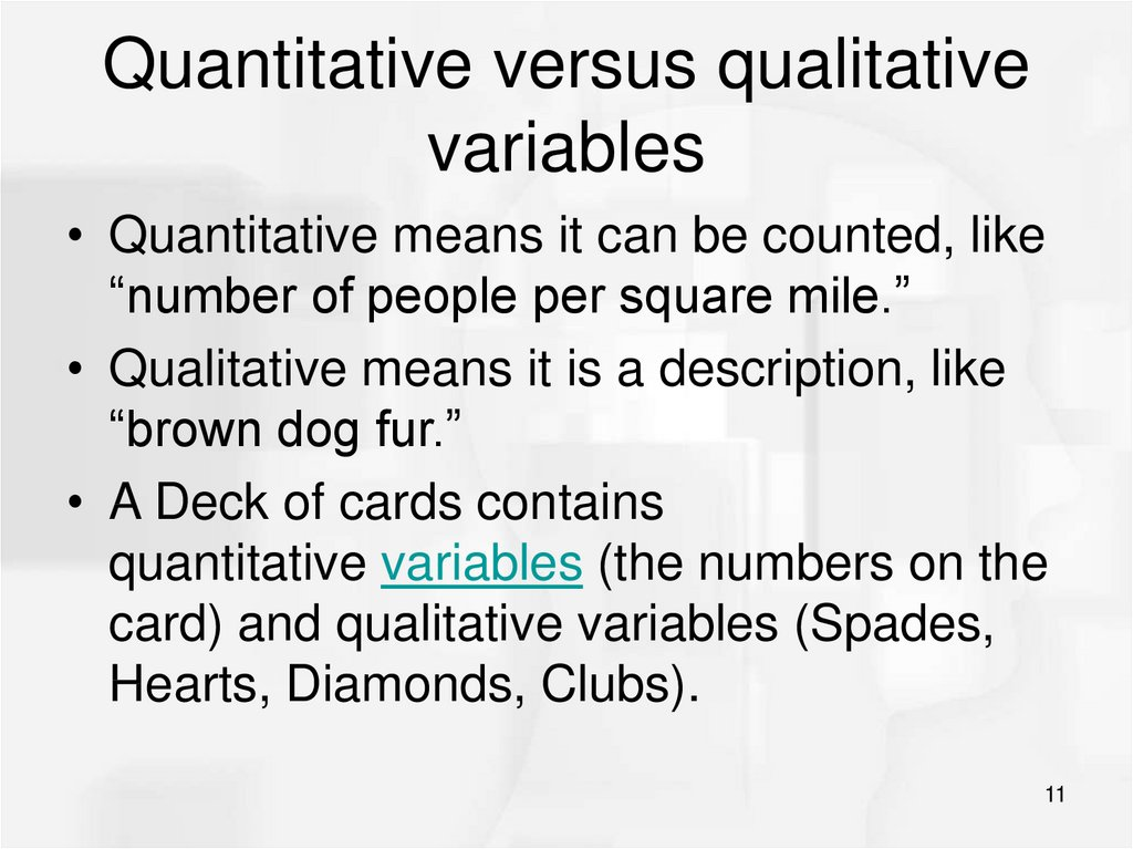 Quantitative versus qualitative variables