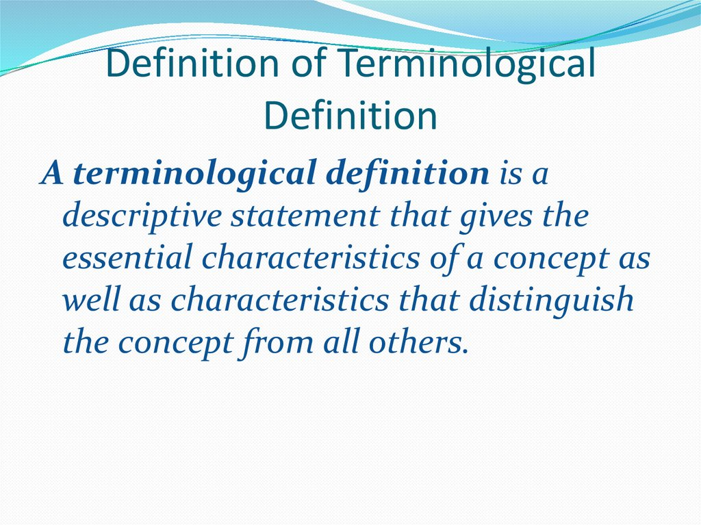 Definition of Terminological Definition
