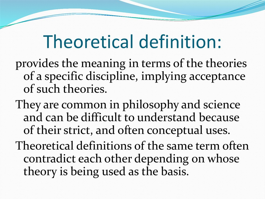 Theoretical definition:
