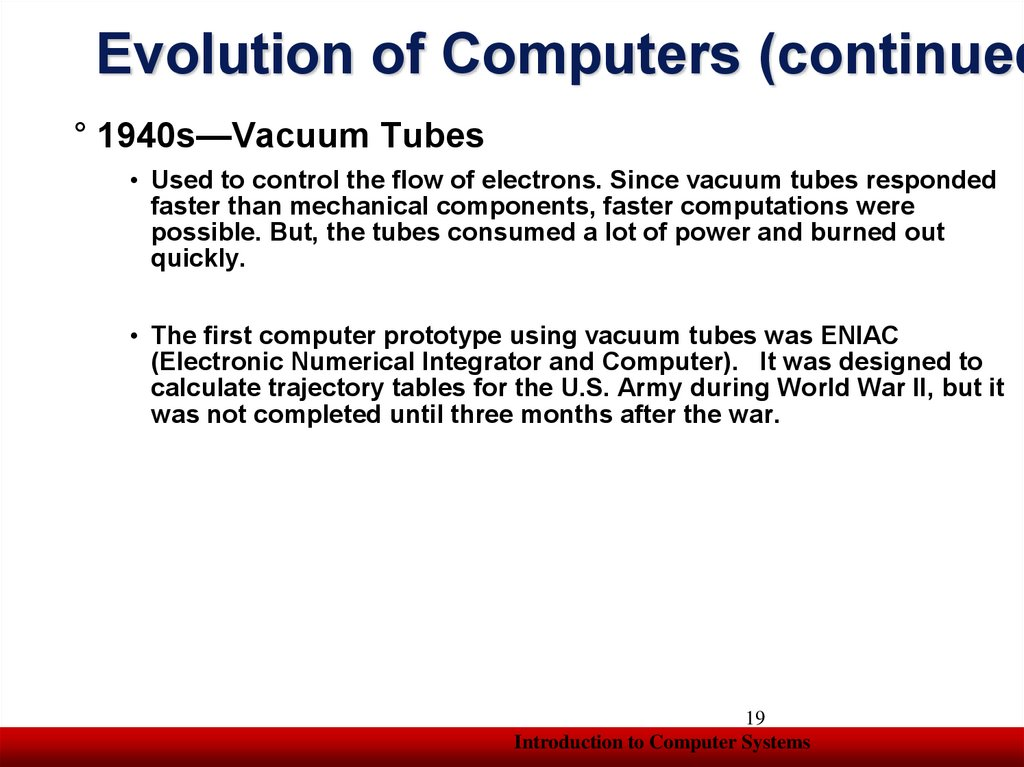 Evolution of Computers (continued)