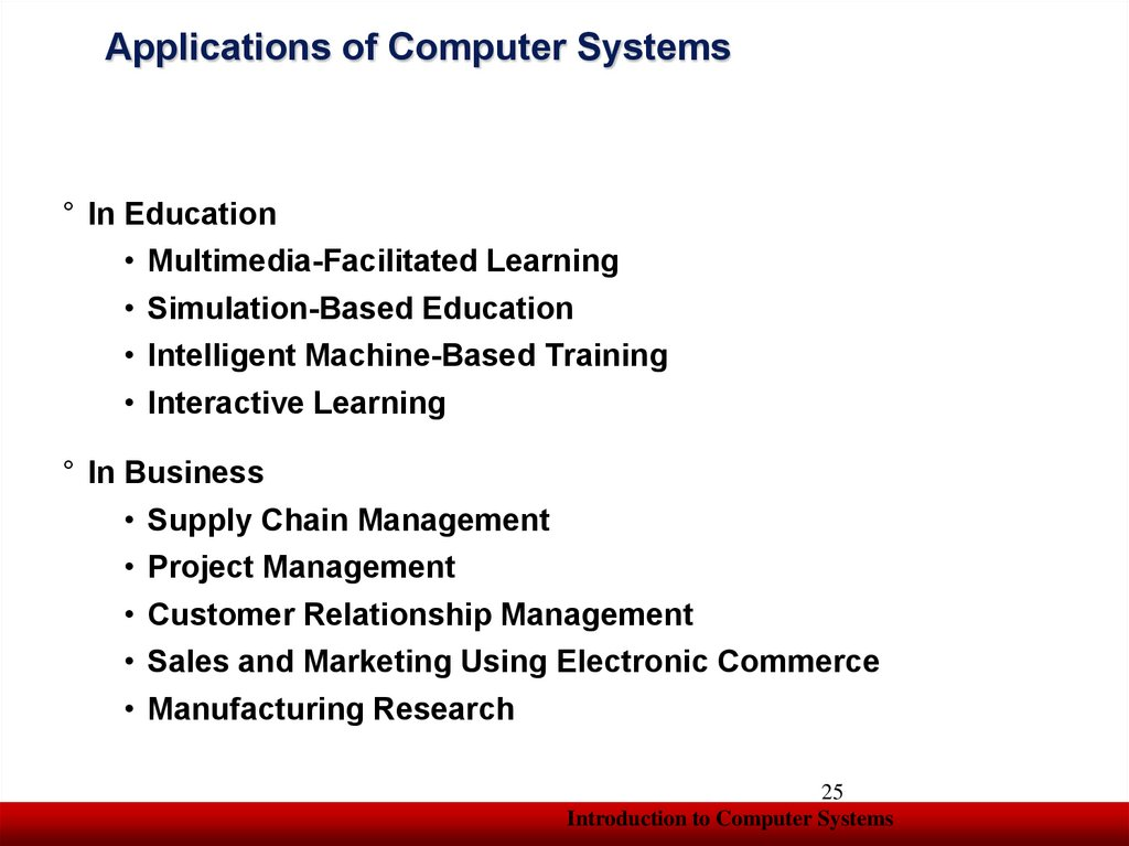 Applications of Computer Systems