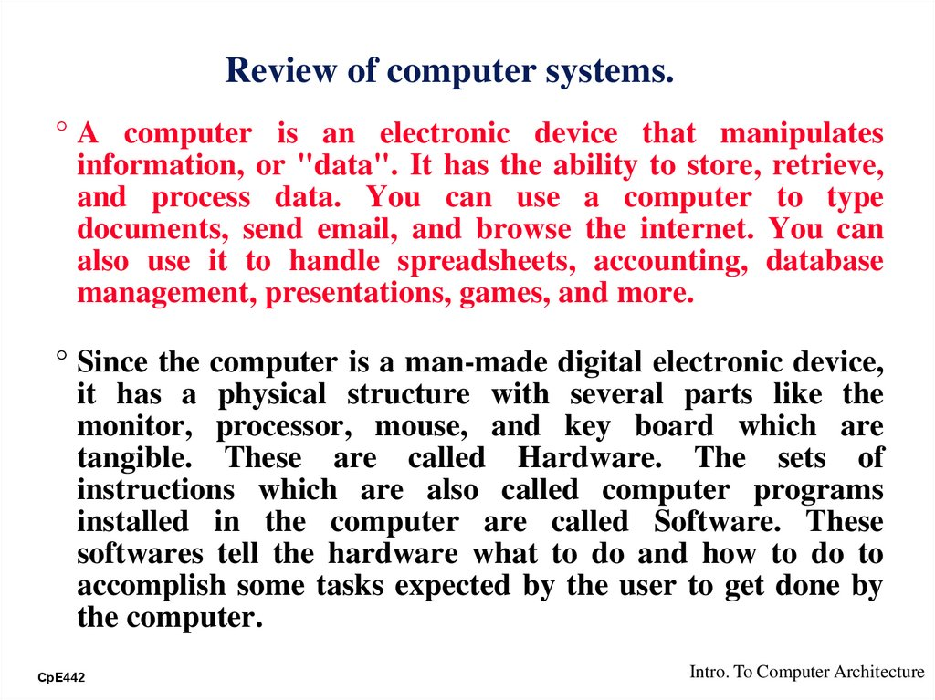 Review of computer systems.