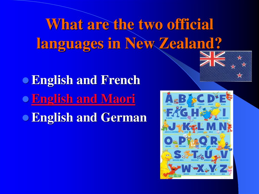 What are the two official languages in New Zealand?