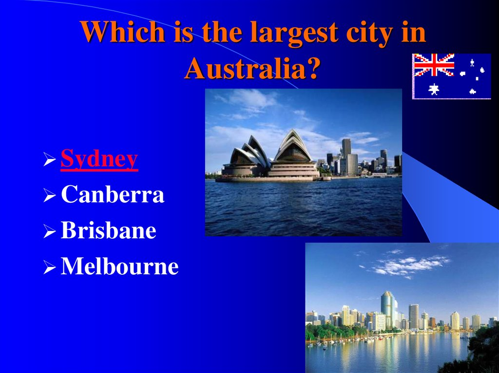 Which is the largest city in Australia?