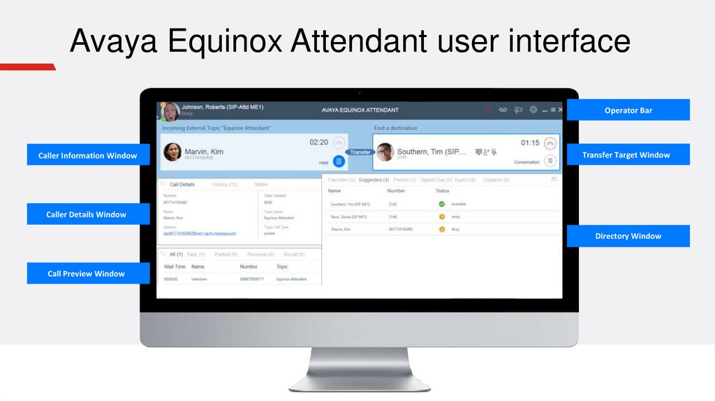 Avaya Equinox Attendant user interface