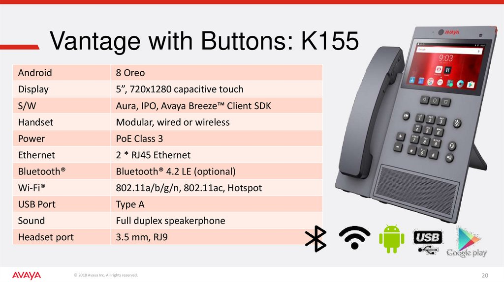 Vantage with Buttons: K155