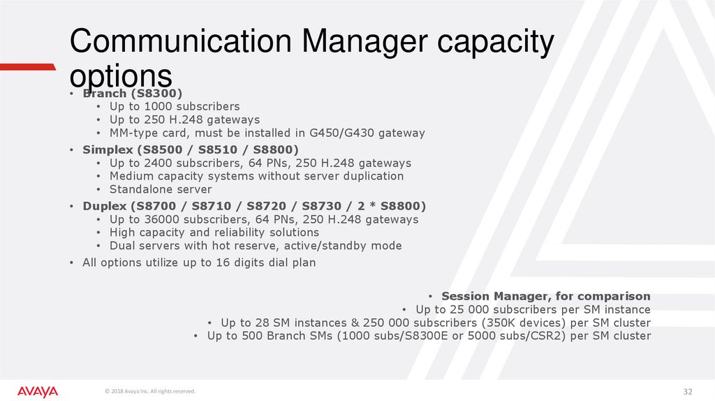Communication Manager capacity options