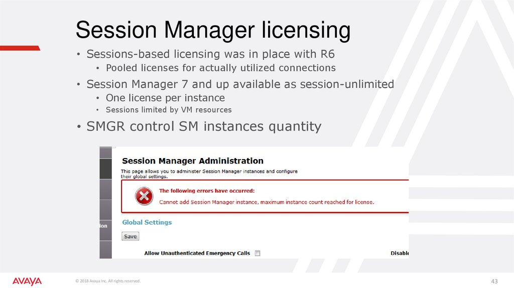 Session Manager licensing