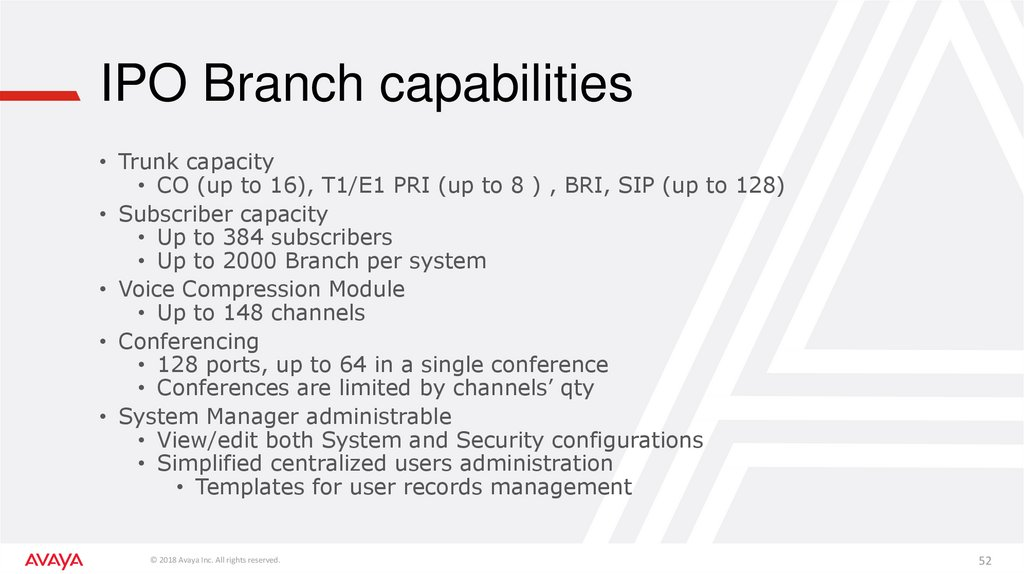 IPO Branch capabilities