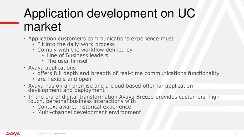 Application development on UC market
