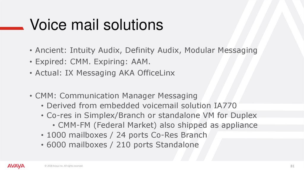 Voice mail solutions