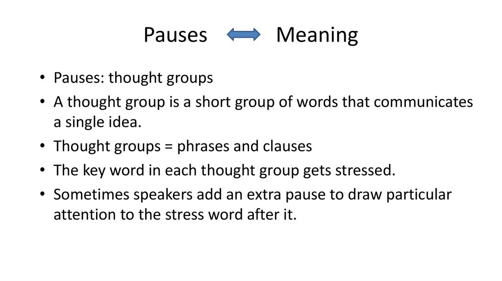 Pauses Meaning