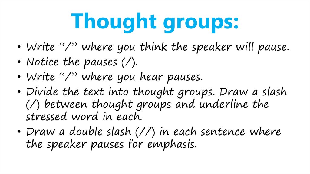 Thought groups: