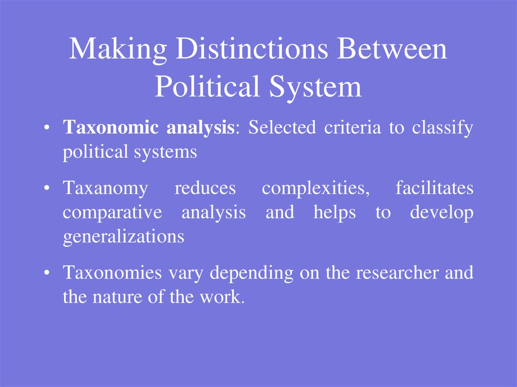 Making Distinctions Between Political System