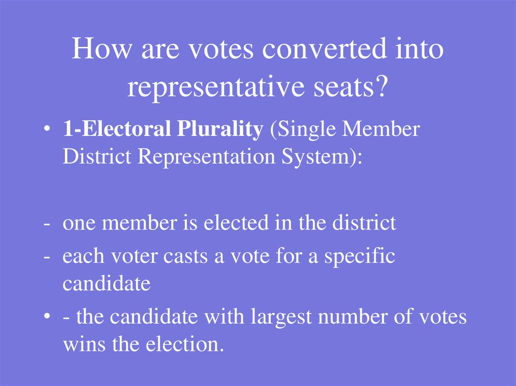 How are votes converted into representative seats?