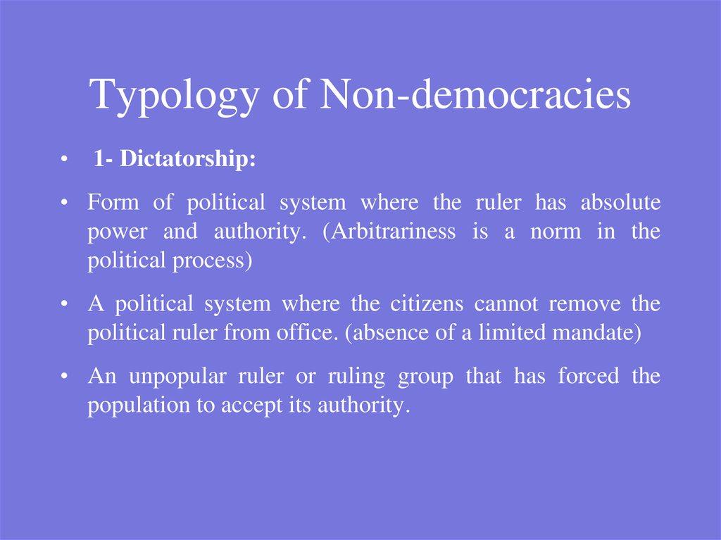 Typology of Non-democracies