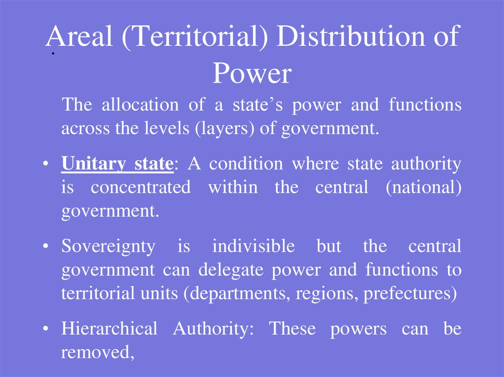 Areal (Territorial) Distribution of Power