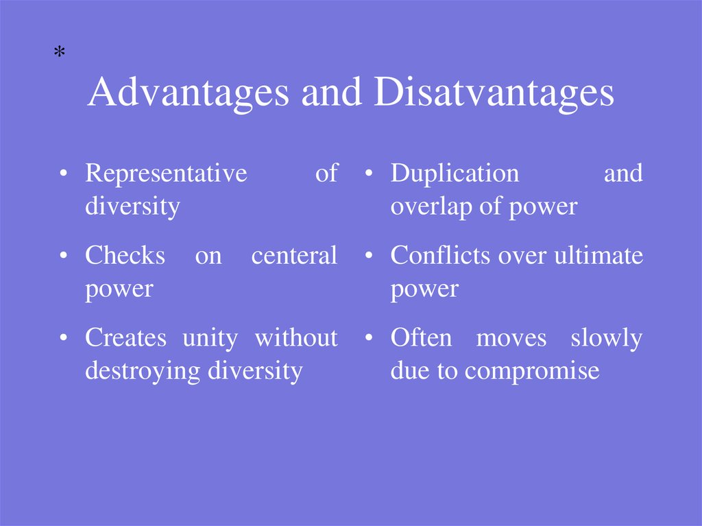 Advantages and Disatvantages