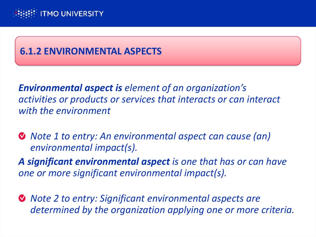 6.1.2 ENVIRONMENTAL ASPECTS