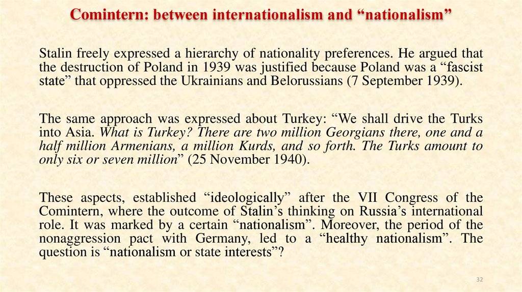"Comintern: between internationalism and ""nationalism"""