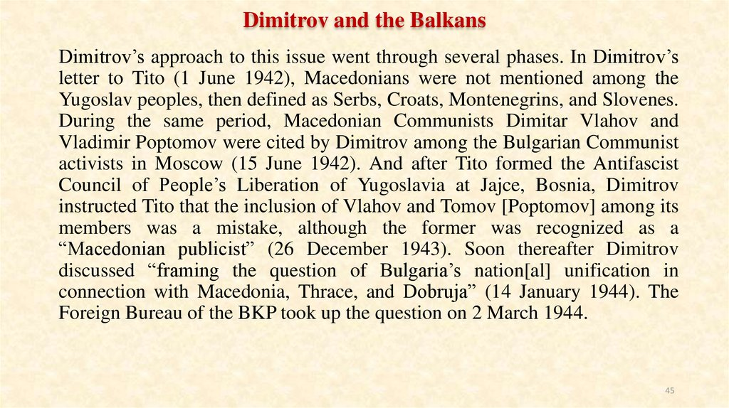 Dimitrov and the Balkans