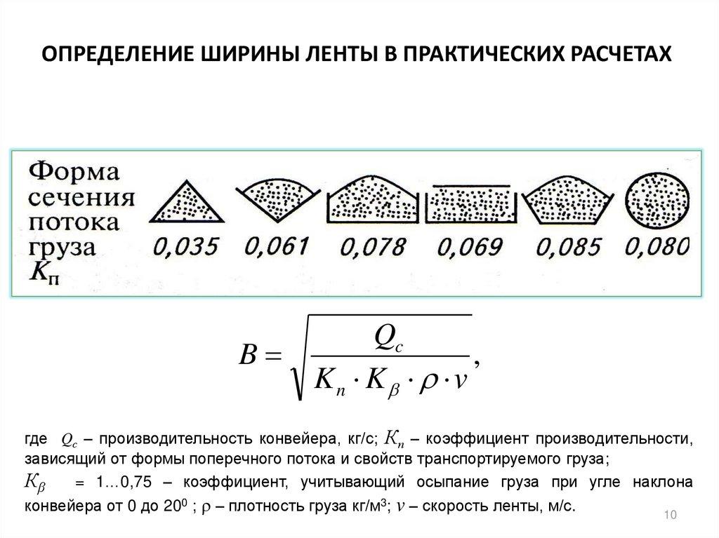 Коэффициенты производительности конвейера производительность ленточного конвейера рассчитывается по формуле