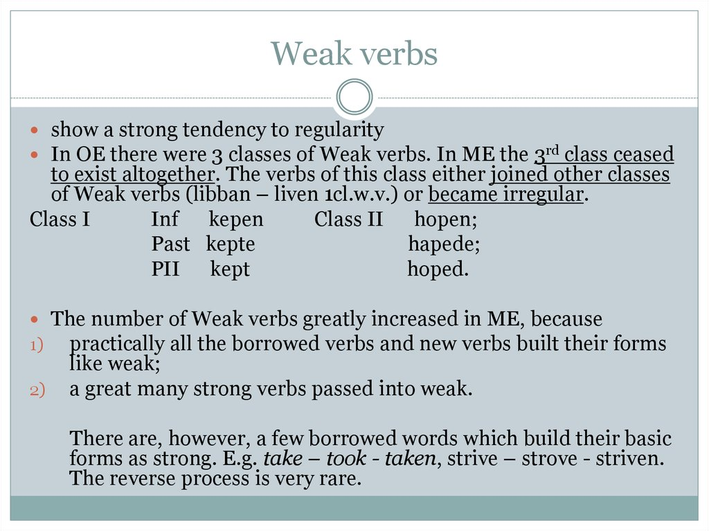Weak verbs