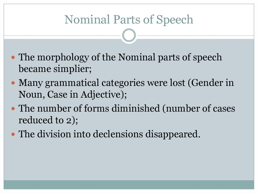 Nominal Parts of Speech