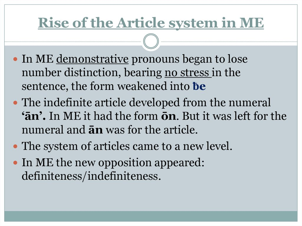 Rise of the Article system in ME