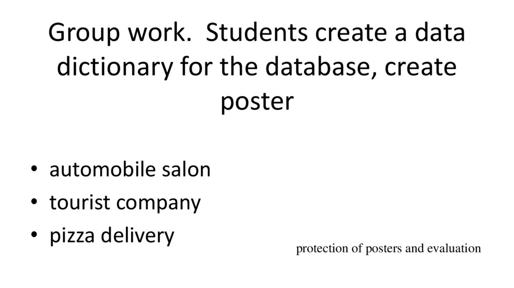 Group work. Students create a data dictionary for the database, create poster