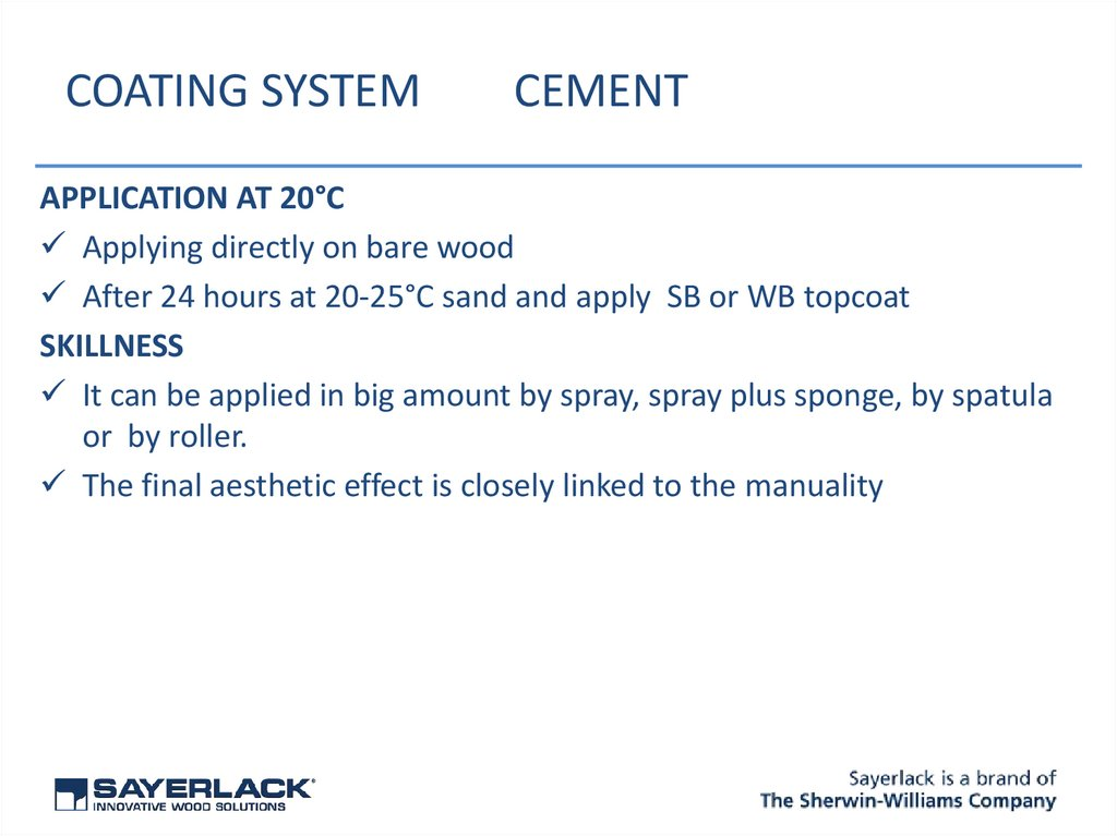 COATING SYSTEM CEMENT