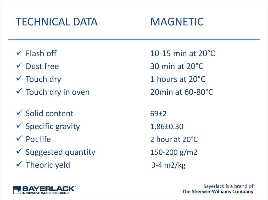 TECHNICAL DATA MAGNETIC