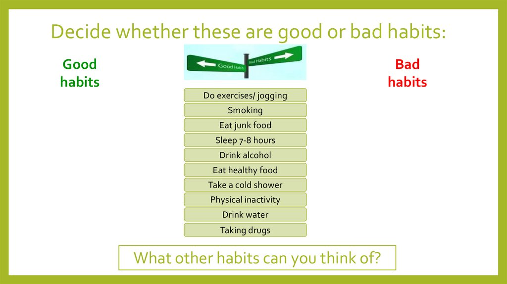 Decide whether these are good or bad habits: