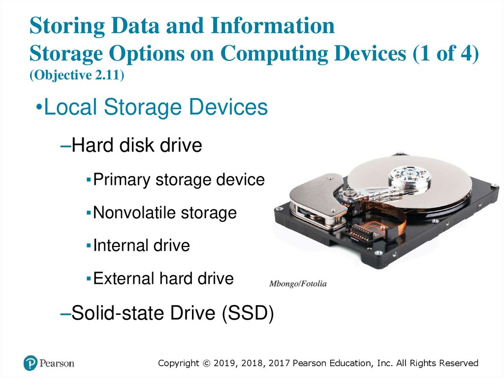 Storing Data and Information Storage Options on Computing Devices (1 of 4) (Objective 2.11)