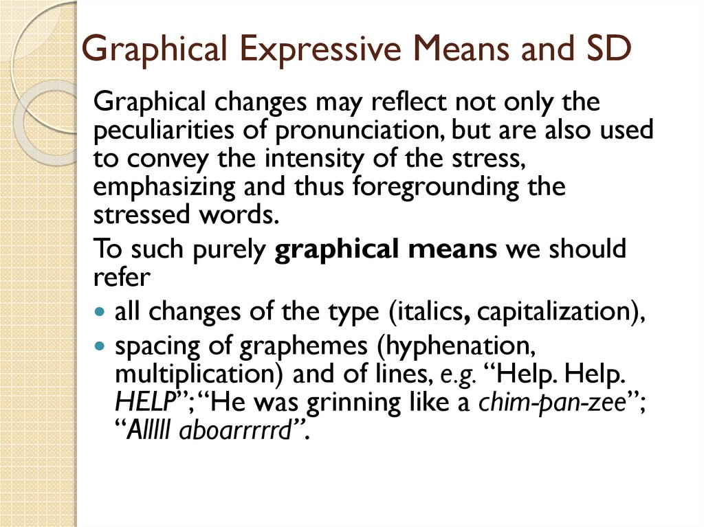Graphical Expressive Means and SD